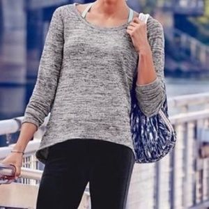 ATHLETA No Sweatin' It Sharkbite Sweater gray XL